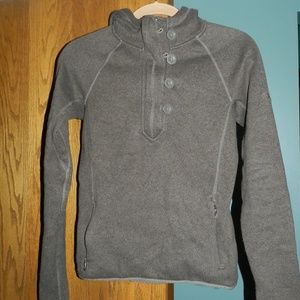 North Face Brown 1/4 Zip/Button Hooded Pullover